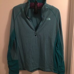 Teal North Face 1/4 zip pullover
